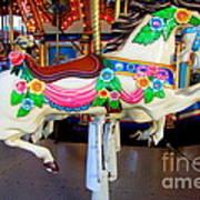 Carousel Horse With Flower Drape Poster