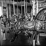 Carousel Horses In Black And White Poster
