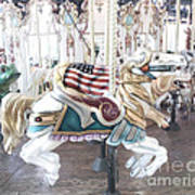 Carousel Merry Go Round Horses - Dreamy Baby Blue Carousel Horses Carnival Ride And American Flag Poster