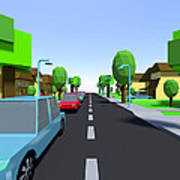 Cars Driving Suburban Streets   Poster