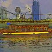 Cartoon - Colorful River Cruise Boat In Singapore Next To A Bridge Poster