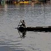 Cartoon - Kashmiri Man Rowing A Small Wooden Boat In The Waters Of The Dal Lake Poster