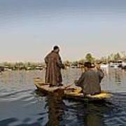 Cartoon - Kashmiri Men Plying A Wooden Boat In The Dal Lake In Srinagar Poster