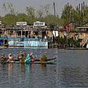 Cartoon - Ladies On 2 Wooden Boats On The Dal Lake With The Background Of Houseboats Poster