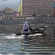 Cartoon - Light Following This Lady On A Wooden Boat On The Dal Lake In Srinagar Poster