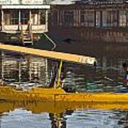 Cartoon - Man Plying Wooden Shikara With Side Lettering Of Kodak Express In The Dal Lake Poster