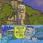 Cartoon - Statue Of The Merlion With A Banner Below The Statue Poster