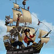 Cartoon Animal Pirate Ship Poster