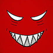 Cartoon Grinning Face With Evil Eyes Poster