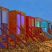 Cartoonised Beach Huts Poster