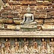 Carved Figures At Wat Mahathat In 13th Century Sukhothai Histori Poster