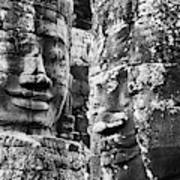 Carved Stone Faces In The Khmer Temple Poster