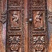 Carved Wooden Door At Bhaktapur In Nepal Poster