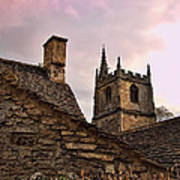 Sunset At Castle Comb Church - Wilshire England Poster