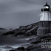Castle Hill Lighthouse Bw Poster