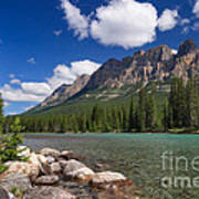 Castle Mountain And The Bow River Poster