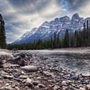 Castle Mountain River View Poster