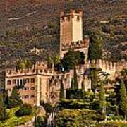 Sunset On The Castle On Lake Garda Italy Poster