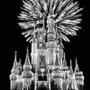 Castle With Fireworks In Black And White Walt Disney World Poster