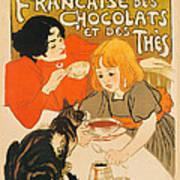 Cat Enjoys Chocolates And Tea Poster