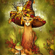 Cat In Fancy Witch Hat 3 Poster