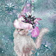 Cat In Snowflake Hat Poster