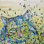 Cat In The Grass Poster