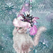 Cat In The Snowflake Santa Hat Poster