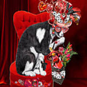 Cat In The Valentine Steam Punk Hat Poster