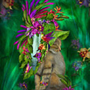 Cat In Tropical Dreams Hat Poster