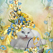 Cat In Yellow Easter Hat Poster
