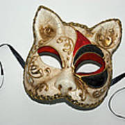 Cat Masquerade Mask On White Poster
