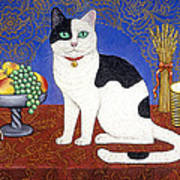 Cat On Thanksgiving Table Poster