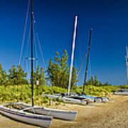 Catamaran Sailboats On The Beach At Muskegon No. 601 Poster