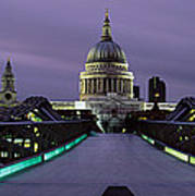 Cathedral Lit Up At Night, St. Pauls Poster