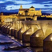 Cathedral Mosque And Roman Bridge In Cordoba Poster