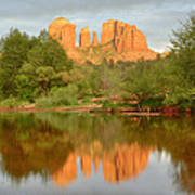 Cathedral Rocks Reflection Poster