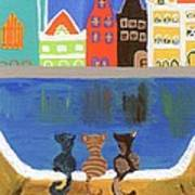 Cats Enjoying The View Poster