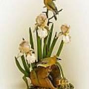 Cedar Waxwings And Iris Poster
