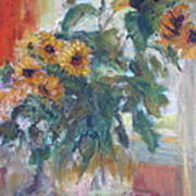 Sale - Sunflowers In Window Light - Original Impressionist - Large Oil Painting Poster