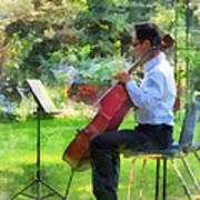 Cellist In The Garden Poster