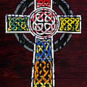 Celtic Cross License Plate Art Recycled Mosaic On Wood Board Poster