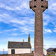 Celtic Cross On The Scottish Coast At North Berwick Poster