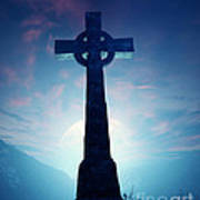 Celtic Cross With Moon Poster