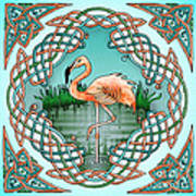 Celtic Flamingo Art Poster