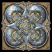 Celtic Hearts - Gold And Silver Poster by Richard Barnes