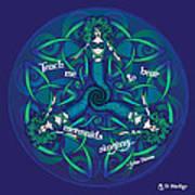 Celtic Mermaid Mandala In Blue And Green Poster