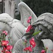 Cemetery Stone Angels And Flowers Poster