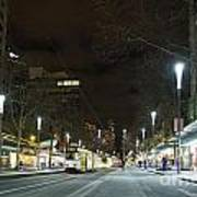 Central Melbourne Street At Night In Australia Poster