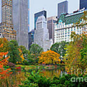 Central Park And Fifth Autumn View Poster